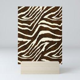 ANIMAL PRINT ZEBRA IN WINTER 2 BROWN AND BEIGE Mini Art Print