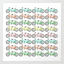 tandem bikes - multi color Art Print