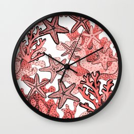 Living Coral and starfish, Coral reef Wall Clock