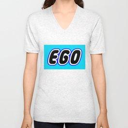 EGO in Brick Font Logo Design [Alternate Colors] by Chillee Wilson Unisex V-Neck