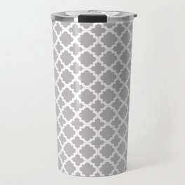 Lattice Gray on White Travel Mug