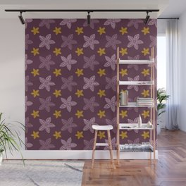 Retro Purple Polynesian Floral Pattern Wall Mural