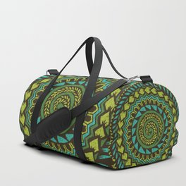 Retro Abstract 60s 70s Polynesian Tattoo Pattern Vintage Green Duffle Bag
