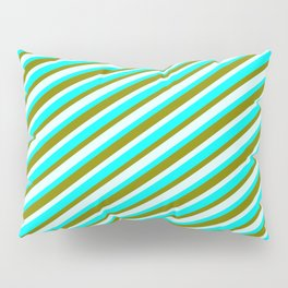 Aqua, Green, and Light Cyan Colored Striped/Lined Pattern Pillow Sham