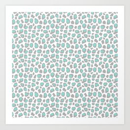 Leopard Animal Print Aqua Blue Gray Grey Spots Art Print