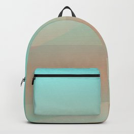 Soft Moonscape: A Pale Yellow Circle Floats Over a Rust-Red Landscape Behind Veils of Soft Blues Backpack