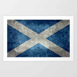 Flag of Scotland, Vintage retro style Art Print