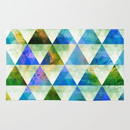Modern Blue & Green Geometric Triangle Design Rug