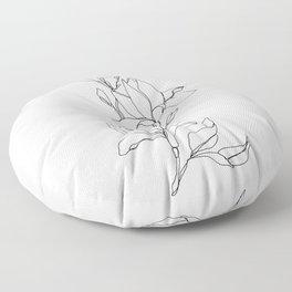 Botanical illustration line drawing - Magnolia Floor Pillow