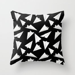Paper Planes Pattern | Black and White Throw Pillow