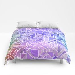 Cool Gradient (Violet Purple Blue Green) Geometric Pattern Print Design Comforters