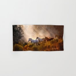 Horses in a Golden Meadow by Georgia M Baker Hand & Bath Towel
