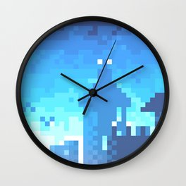 Pixel Town at Sundown - Blue Wall Clock
