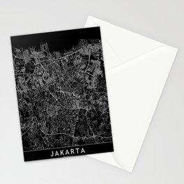 Jakarta Black Map Stationery Cards