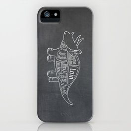 Triceratops Dinosaur (A.K.A Three Horn Face) Butcher Meat Diagram iPhone Case