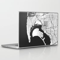 san diego Laptop & iPad Skins featuring San Diego Map Gray by City Art Posters