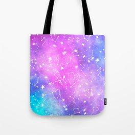 White constellation universe pattern zodiac on purple blue nebula space watercolor Tote Bag