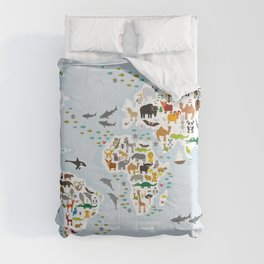 Cartoon animal world map for children and kids, Animals from all over the world, back to school Comforters