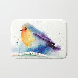 Cute Robin In Snow - Winter Art Bird Watercolor Bath Mat