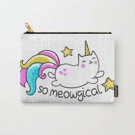 Kawaii Meowgical Glittery Unicorn cat Carry-All Pouch