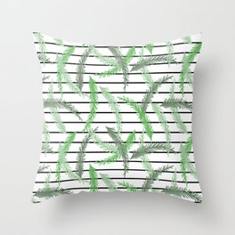 Stripes and Sprigs Throw Pillow