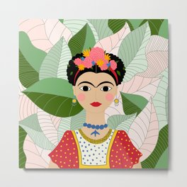 Frida Kahlo Portrait Digital Draw Metal Print