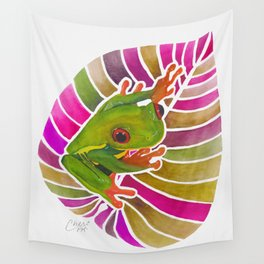 Frog On A Leaf Wall Tapestry