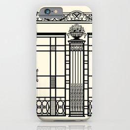 ART DECO, ART NOUVEAU IRONWORK: Black and Cream iPhone Case