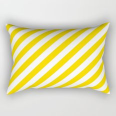 Diagonal Stripes (Gold/White) Rectangular Pillow