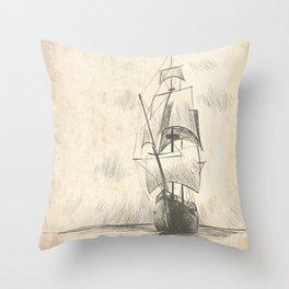 Vintage hand drawn galleon background Throw Pillow