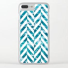Watercolor Herringbone Clear iPhone Case
