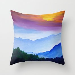 Smokey Mountain Sunset Throw Pillow