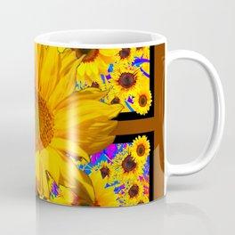 COFFEE BROWN YELLOW SUNFLOWERS DESIGN Coffee Mug