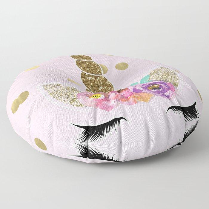 Floral Trendy Modern Unicorn Horn Gold Confetti Floor Pillow
