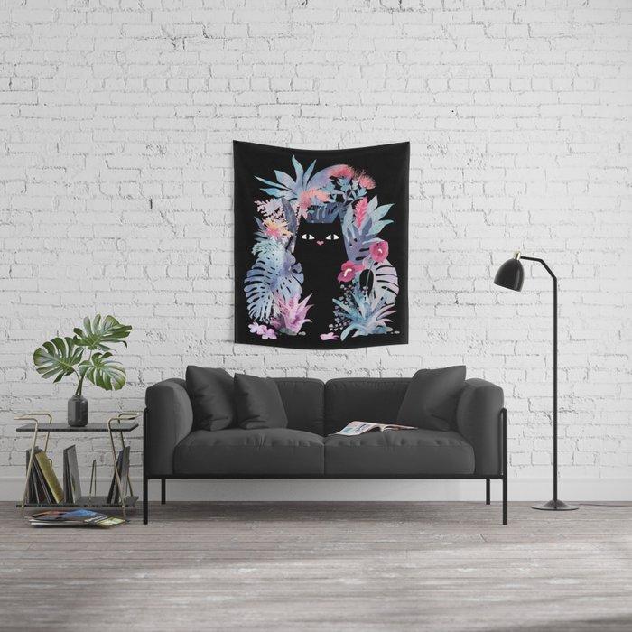 Popoki (Pastel Black Velvet) Wall Tapestry