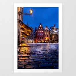 The Old Town Winter Night I Art Print