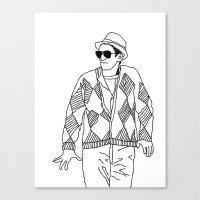 eddie vedder Canvas Prints featuring eddie by Panic Junkie