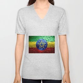 Flag of Ethiopia - Raindrops Unisex V-Neck