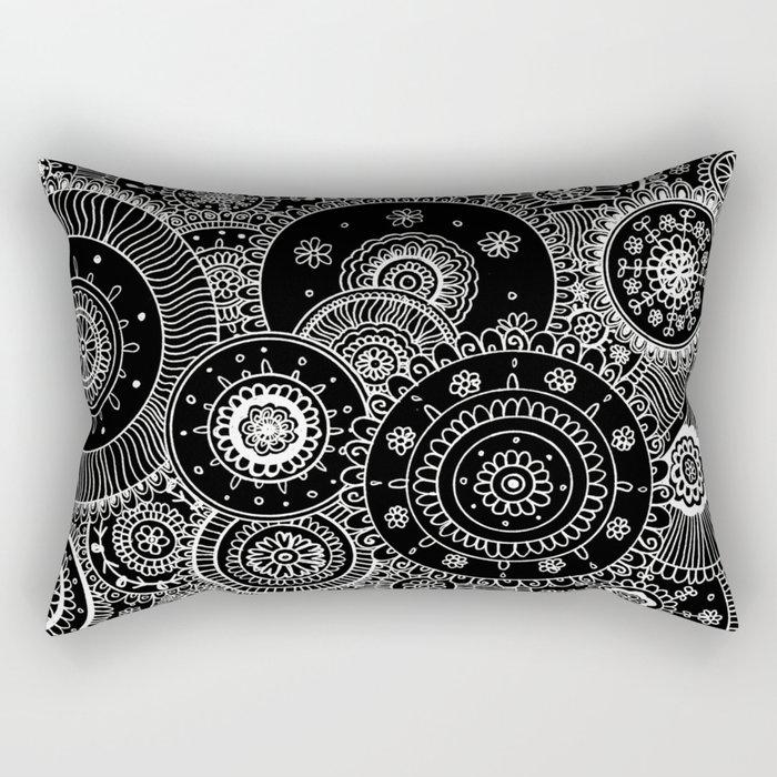 Lacy White Mandalas on Black Rectangular Pillow
