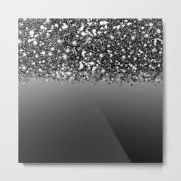 Black & Gunmetal Gray Silver Glitter Ombre Metal Print