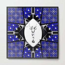 Deer Rose Cross 3 Metal Print