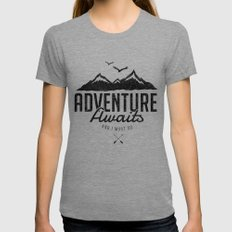 ADVENTURE AWAITS LARGE Tri-Grey Womens Fitted Tee