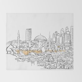 Modern and old Istanbul panorama drawing Throw Blanket
