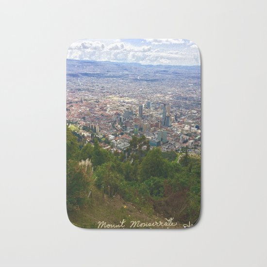 Mount Monserrate, with a 10,000 ft view of Bogota Colombia Bath Mat