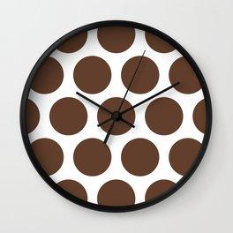 Large Polka Dots: Chocolate Brown Wall Clock