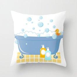 Bubble Bath Tub Throw Pillow