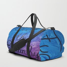 Fuck the Patriarchy in blue and purple gradient Duffle Bag