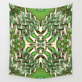 Green and Cream Spiral Bends Wall Tapestry