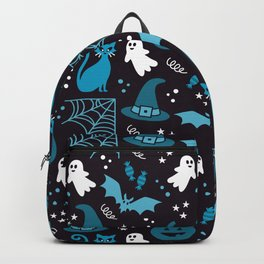 Halloween party illustrations blue, black Backpack