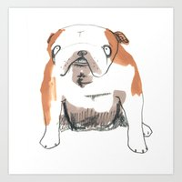 bulldog Art Prints featuring Bulldog by jo clark